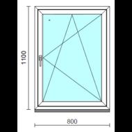 Bukó-nyíló ablak.   80x110 cm (Rendelhető méretek: szélesség 75- 84 cm, magasság 105-114 cm.)  New Balance 85 profilból