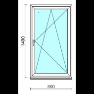 Bukó-nyíló ablak.   80x140 cm (Rendelhető méretek: szélesség 75- 84 cm, magasság 135-144 cm.) Deluxe A85 profilból