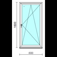 Bukó-nyíló ablak.   80x160 cm (Rendelhető méretek: szélesség 75- 84 cm, magasság 155-164 cm.)   Optima 76 profilból