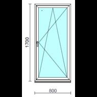 Bukó-nyíló ablak.   80x170 cm (Rendelhető méretek: szélesség 75- 84 cm, magasság 165-174 cm.) Deluxe A85 profilból