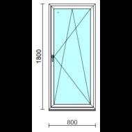 Bukó-nyíló ablak.   80x180 cm (Rendelhető méretek: szélesség 75- 84 cm, magasság 175-180 cm.) Deluxe A85 profilból