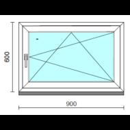 Bukó-nyíló ablak.   90x 60 cm (Rendelhető méretek: szélesség 85- 90 cm, magasság 55- 64 cm.)   Optima 76 profilból