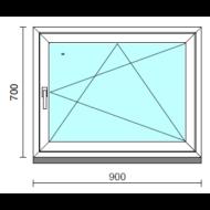 Bukó-nyíló ablak.   90x 70 cm (Rendelhető méretek: szélesség 85- 94 cm, magasság 65- 74 cm.)   Optima 76 profilból
