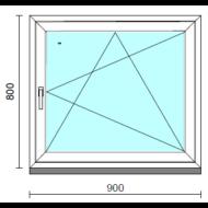 Bukó-nyíló ablak.   90x 80 cm (Rendelhető méretek: szélesség 85- 94 cm, magasság 75- 84 cm.)   Optima 76 profilból
