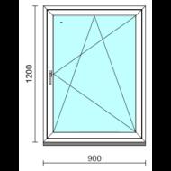 Bukó-nyíló ablak.   90x120 cm (Rendelhető méretek: szélesség 85- 94 cm, magasság 115-124 cm.)   Optima 76 profilból