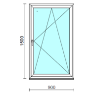 Bukó-nyíló ablak.   90x150 cm (Rendelhető méretek: szélesség 85- 94 cm, magasság 145-154 cm.)   Optima 76 profilból