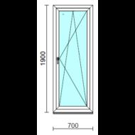 Bukó-nyíló erkélyajtó (befelé nyíló).   70x190 cm (Rendelhető méretek: szélesség 70-74 cm, magasság 185-194 cm.)  New Balance 85 profilból