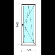 Bukó-nyíló erkélyajtó (befelé nyíló).   70x200 cm (Rendelhető méretek: szélesség 70-74 cm, magasság 195-204 cm.)  New Balance 85 profilból