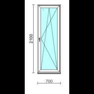 Bukó-nyíló erkélyajtó (befelé nyíló).   70x210 cm (Rendelhető méretek: szélesség 70-74 cm, magasság 205-214 cm.)  New Balance 85 profilból