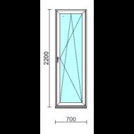 Bukó-nyíló erkélyajtó (befelé nyíló).   70x220 cm (Rendelhető méretek: szélesség 70-74 cm, magasság 215-224 cm.)  New Balance 85 profilból