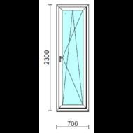 Bukó-nyíló erkélyajtó (befelé nyíló).   70x230 cm (Rendelhető méretek: szélesség 70-74 cm, magasság 225-234 cm.)   Optima 76 profilból
