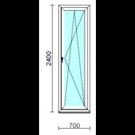 Bukó-nyíló erkélyajtó (befelé nyíló).   70x240 cm (Rendelhető méretek: szélesség 70-74 cm, magasság 235-240 cm.)   Optima 76 profilból