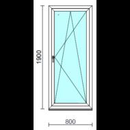 Bukó-nyíló erkélyajtó (befelé nyíló).   80x190 cm (Rendelhető méretek: szélesség 75-84 cm, magasság 185-194 cm.)  New Balance 85 profilból
