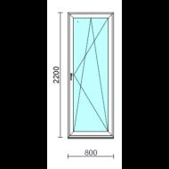 Bukó-nyíló erkélyajtó (befelé nyíló).   80x220 cm (Rendelhető méretek: szélesség 75-84 cm, magasság 215-224 cm.)  New Balance 85 profilból