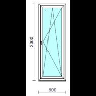 Bukó-nyíló erkélyajtó (befelé nyíló).   80x230 cm (Rendelhető méretek: szélesség 75-84 cm, magasság 225-234 cm.)   Optima 76 profilból