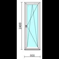 Bukó-nyíló erkélyajtó (befelé nyíló).   80x240 cm (Rendelhető méretek: szélesség 75-84 cm, magasság 235-240 cm.)   Optima 76 profilból