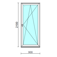 Bukó-nyíló erkélyajtó (befelé nyíló).   90x210 cm (Rendelhető méretek: szélesség 85-94 cm, magasság 205-214 cm.)  New Balance 85 profilból