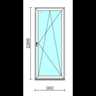 Bukó-nyíló erkélyajtó (befelé nyíló).   90x220 cm (Rendelhető méretek: szélesség 85-94 cm, magasság 215-224 cm.)   Optima 76 profilból