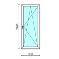 Bukó-nyíló erkélyajtó (befelé nyíló).   90x220 cm (Rendelhető méretek: szélesség 85-94 cm, magasság 215-224 cm.)  New Balance 85 profilból