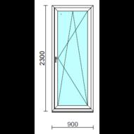 Bukó-nyíló erkélyajtó (befelé nyíló).   90x230 cm (Rendelhető méretek: szélesség 85-94 cm, magasság 225-234 cm.)   Optima 76 profilból