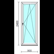 Bukó-nyíló erkélyajtó (befelé nyíló).   90x240 cm (Rendelhető méretek: szélesség 85-94 cm, magasság 235-240 cm.)   Optima 76 profilból