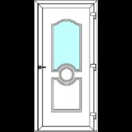 Egyszárnyú befelé nyíló  NORMÁL bejárati ajtó Rurik A2 üveges díszpanellel. CSAK FEHÉR SZÍNBEN!  (Rendelhető méretek: szélesség 83-110 cm, magasság 178-230 cm.)   Optima 76 profilból