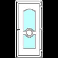 Egyszárnyú befelé nyíló  NORMÁL bejárati ajtó Rurik A3 üveges díszpanellel. CSAK FEHÉR SZÍNBEN!  (Rendelhető méretek: szélesség 83-110 cm, magasság 178-230 cm.)   Optima 76 profilból