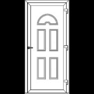 Egyszárnyú befelé nyíló ERŐSÍTETT bejárati ajtó SLine   Köln Light  tömör díszpanellel. CSAK FEHÉR SZÍNBEN!  (Rendelhető méretek: szélesség 83-108 cm, magasság 184-216 cm.)   Optima 76 profilból