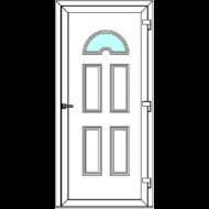 Egyszárnyú befelé nyíló ERŐSÍTETT bejárati ajtó SLine   Köln Light 1 üveges díszpanellel. CSAK FEHÉR SZÍNBEN!  (Rendelhető méretek: szélesség 83-108 cm, magasság 184-216 cm.)   Optima 76 profilból