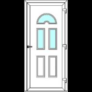 Egyszárnyú befelé nyíló ERŐSÍTETT bejárati ajtó SLine   Köln Light 3 üveges díszpanellel. CSAK FEHÉR SZÍNBEN!  (Rendelhető méretek: szélesség 83-108 cm, magasság 184-216 cm.)   Optima 76 profilból
