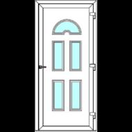 Egyszárnyú befelé nyíló  NORMÁL bejárati ajtó Rurik B4 üveges díszpanellel. CSAK FEHÉR SZÍNBEN!  (Rendelhető méretek: szélesség 83-110 cm, magasság 178-230 cm.)   Optima 76 profilból