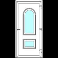 Egyszárnyú befelé nyíló  NORMÁL bejárati ajtó Rurik D3 üveges díszpanellel. CSAK FEHÉR SZÍNBEN!  (Rendelhető méretek: szélesség 83-110 cm, magasság 178-230 cm.)   Optima 76 profilból