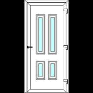 Egyszárnyú befelé nyíló  NORMÁL bejárati ajtó Rurik H3 üveges díszpanellel. CSAK FEHÉR SZÍNBEN!  (Rendelhető méretek: szélesség 83-110 cm, magasság 178-230 cm.)   Optima 76 profilból