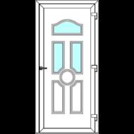 Egyszárnyú befelé nyíló  NORMÁL bejárati ajtó Rurik I3 üveges díszpanellel. CSAK FEHÉR SZÍNBEN!  (Rendelhető méretek: szélesség 83-110 cm, magasság 178-230 cm.)   Optima 76 profilból