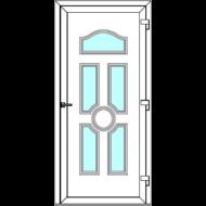 Egyszárnyú befelé nyíló  NORMÁL bejárati ajtó Rurik I4 üveges díszpanellel. CSAK FEHÉR SZÍNBEN!  (Rendelhető méretek: szélesség 83-110 cm, magasság 178-230 cm.)   Optima 76 profilból