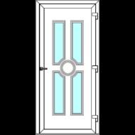 Egyszárnyú befelé nyíló  NORMÁL bejárati ajtó Rurik K3 üveges díszpanellel. CSAK FEHÉR SZÍNBEN!  (Rendelhető méretek: szélesség 83-110 cm, magasság 178-230 cm.)   Optima 76 profilból