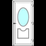 Egyszárnyú befelé nyíló  NORMÁL bejárati ajtó Rurik L2 üveges díszpanellel. CSAK FEHÉR SZÍNBEN!  (Rendelhető méretek: szélesség 88-110 cm, magasság 171-230 cm.)   Optima 76 profilból