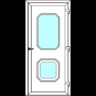Egyszárnyú befelé nyíló  NORMÁL bejárati ajtó Rurik M3 üveges díszpanellel. CSAK FEHÉR SZÍNBEN!  (Rendelhető méretek: szélesség 86-110 cm, magasság 181-230 cm.)   Optima 76 profilból
