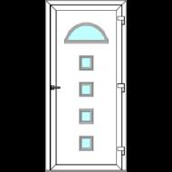 Egyszárnyú befelé nyíló  NORMÁL bejárati ajtó Rurik R3 üveges díszpanellel. CSAK FEHÉR SZÍNBEN!  (Rendelhető méretek: szélesség 88-110 cm, magasság 188-230 cm.)   Optima 76 profilból