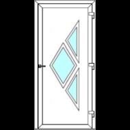 Egyszárnyú befelé nyíló  NORMÁL bejárati ajtó Rurik S4 üveges díszpanellel. CSAK FEHÉR SZÍNBEN!  (Rendelhető méretek: szélesség 88-110 cm, magasság 188-230 cm.)   Optima 76 profilból