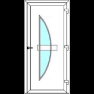 Egyszárnyú befelé nyíló ERŐSÍTETT bejárati ajtó SLine Boden Light 2 üveges díszpanellel. CSAK FEHÉR SZÍNBEN!  (Rendelhető méretek: szélesség 83-108 cm, magasság 185-216 cm.)   Optima 76 profilból