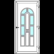 Egyszárnyú befelé nyíló  NORMÁL bejárati ajtó Rurik V4 üveges díszpanellel. CSAK FEHÉR SZÍNBEN!  (Rendelhető méretek: szélesség 88-110 cm, magasság 181-230 cm.)   Optima 76 profilból