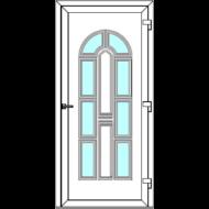 Egyszárnyú befelé nyíló  NORMÁL bejárati ajtó Rurik V5 üveges díszpanellel. CSAK FEHÉR SZÍNBEN!  (Rendelhető méretek: szélesség 88-110 cm, magasság 181-230 cm.)   Optima 76 profilból