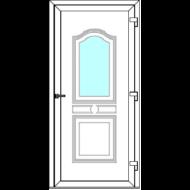 Egyszárnyú befelé nyíló  NORMÁL bejárati ajtó Rurik VE2 üveges díszpanellel. CSAK FEHÉR SZÍNBEN!  (Rendelhető méretek: szélesség 83-110 cm, magasság 178-230 cm.)   Optima 76 profilból