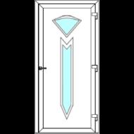 Egyszárnyú befelé nyíló  NORMÁL bejárati ajtó Rurik Z3 üveges díszpanellel. CSAK FEHÉR SZÍNBEN!  (Rendelhető méretek: szélesség 88-110 cm, magasság 188-230 cm.)   Optima 76 profilból