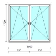 TO Bny-Bny ablak.  190x170 cm (Rendelhető méretek: szélesség 185-194 cm, magasság 165-174 cm.)   Optima 76 profilból