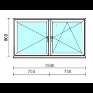 TO Ny-Bny ablak.  150x 80 cm (Rendelhető méretek: szélesség 145-154 cm, magasság 80-84 cm.) Deluxe A85 profilból