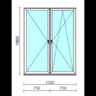 TO Ny-Bny ablak.  150x190 cm (Rendelhető méretek: szélesség 145-154 cm, magasság 185-190 cm.)   Optima 76 profilból