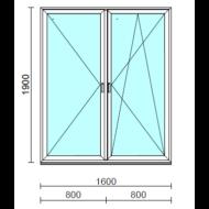 TO Ny-Bny ablak.  160x190 cm (Rendelhető méretek: szélesség 155-164 cm, magasság 185-190 cm.)   Optima 76 profilból