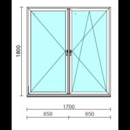 TO Ny-Bny ablak.  170x180 cm (Rendelhető méretek: szélesség 165-174 cm, magasság 175-184 cm.)   Optima 76 profilból